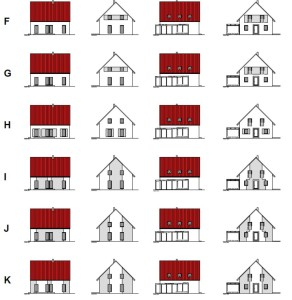 Entwürfe: zweifarbiger Putz, rotes Dach