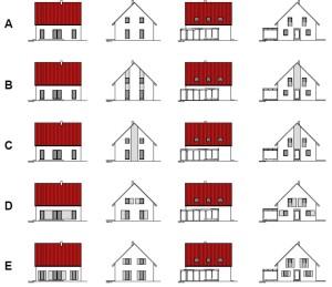 zweifarbiger Putz, rotes Dach
