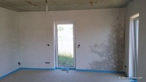 Wohnzimmerwand Trocknungsphase