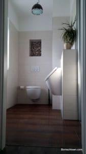 Blick ins Gäste-Bad: WC und Urinal