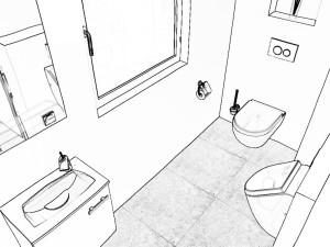 Grundrissgestaltung 3D-Gäste Bad