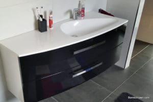 Heibad Opal Waschbecken und Waschtisch schwarz glänzend
