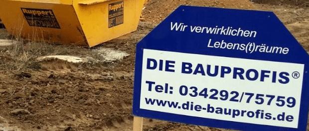 Werbeschild der Bauprofis aus Beucha
