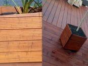2 Varianten eines Pflanzgefäßes aus Holz