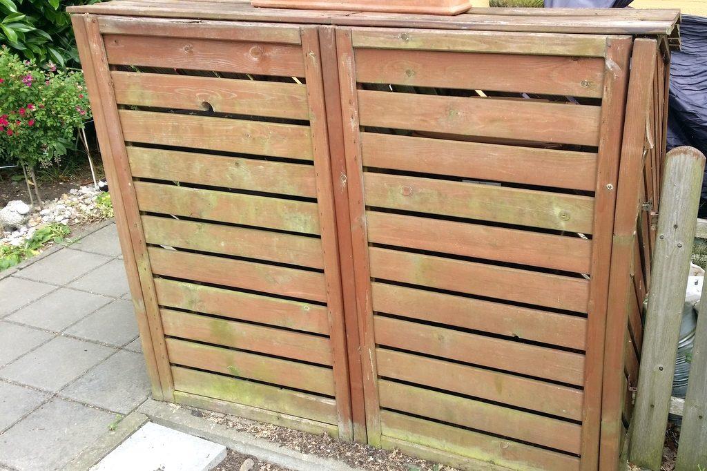 Mülltonnenbox aus Holz mit Deckel und Türen